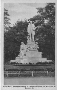 Postcard of a statue of Semmelweis in Budapest, Hungary. From the collection of the University of Michigan Center for the History of Medicine.