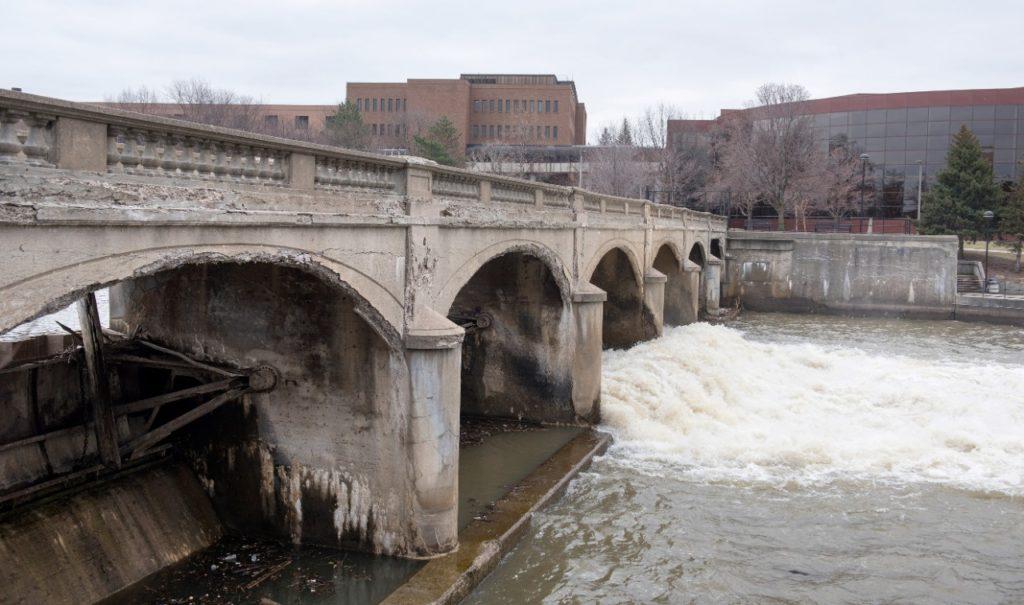 Flint river seen from downtown Flint. Photo courtesy of Virgina Tech.