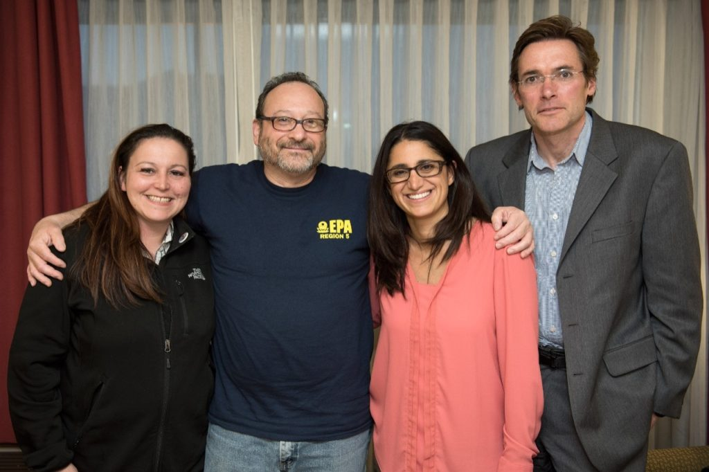 (From left) Former Flint resident Lee-Anne Walters, EPA regional regulations manager Miguel Del Toral, Hurley Medical Center pediatrician Mona Hanna-Attisha, and Virginia Tech Professor Marc Edwards pose for a photo in Flint.