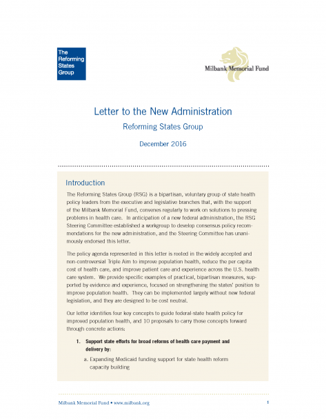 Letter to the New Administration | Milbank Memorial Fund