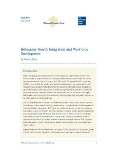 Behavioral Health Integration And Workforce Development Milbank