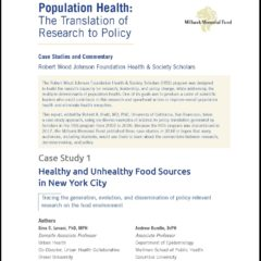 Population Health: The Translation of Research to Policy